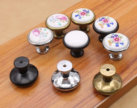 New Arrive Vintage Ceramic Alloy Door Handles White Bronze DIY Home Kitchen Shoe Cabinet Cupboard Wardrobe Knobs Drawer Closet L