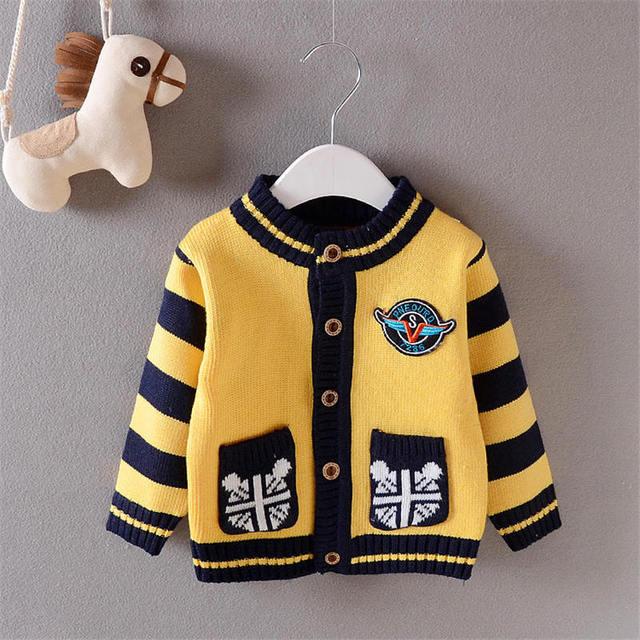 2017 Осень Зима Baby boy свитера кардиганы мальчики мода полосатый свитер пальто