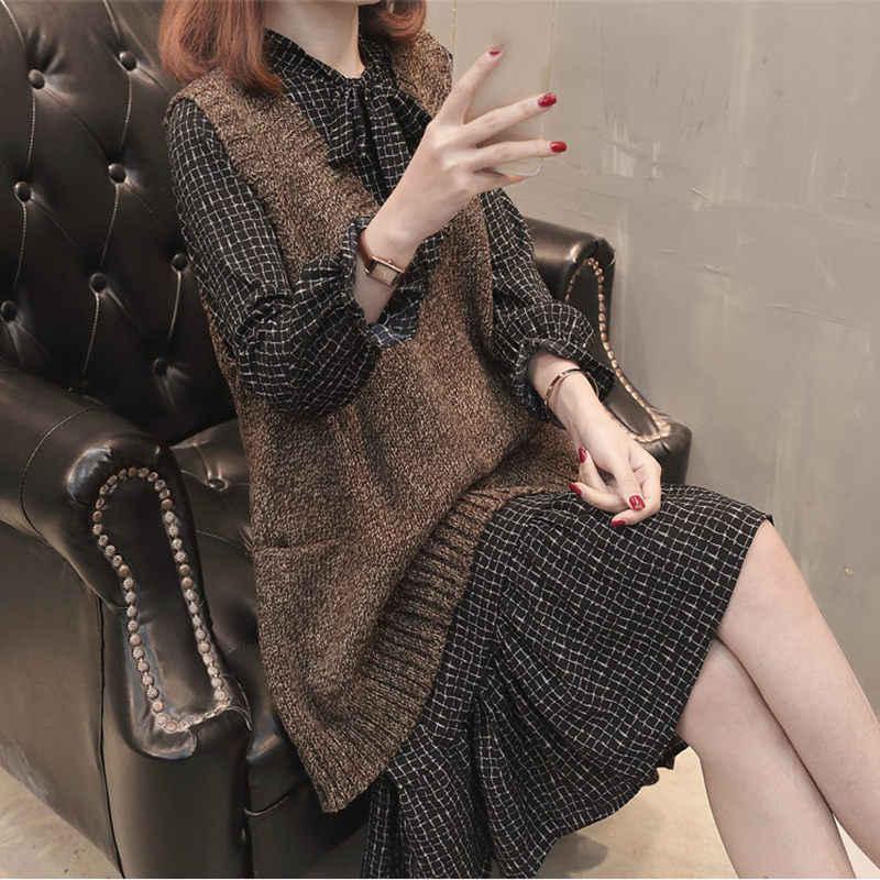 솔리드 컬러 v-목 니트 조끼 여성 2019 봄 가을 새로운 느슨한 대형 여성 캐주얼 민소매 스웨터 조끼 lq652