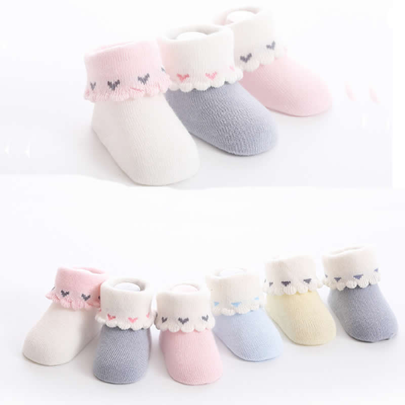 Baby Socks For Newborn Girl Love Princess Lace Short Flanging Knee Socks Lose Baby Toddler Sock Boneless 0to1 Year 3 Pair/loy