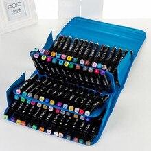 Bolsa de gran capacidad para dibujo de pintura rotulador, estuche de almacenamiento para lápices, con cremallera, bolso de mano, 80 colores, 1 unidad