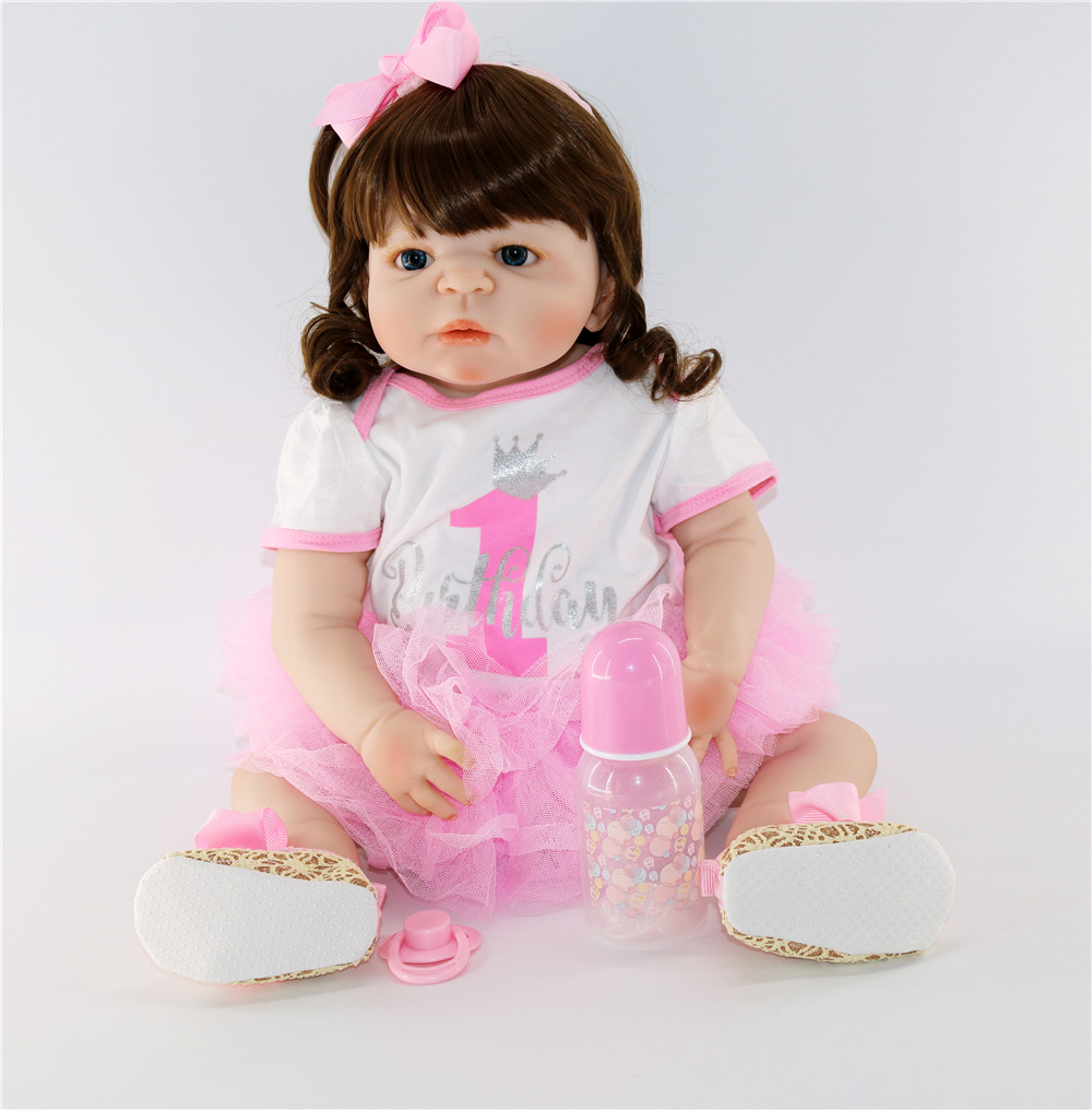 "American Girl 18/"" Reborn Baby Doll Cloth Body Eyes Can Blink Ethnic Biracial"