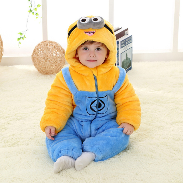 bfe5b05a936924 US $38.0 |Baby Winter Flannel Romper Despicable Me Minion Onesie Jumpsuit  Pajamas Theme Party Cosplay Halloween Costumes for Kids CP0058-in Men's ...