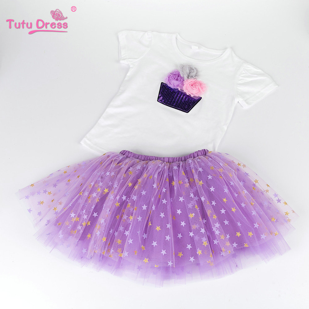 Baby Kids Clothing Girls Clothes 2 Pcs Sets Flower Cotton T-shirt Stars Tutu Skirt Sets Girl Skirt kids clothes 2018 summer children clothing girls unicorn suits baby girl clothes sets short sleeve t shirt tutu skirt