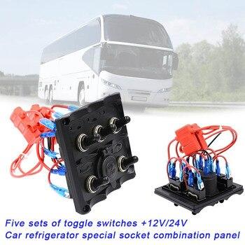 5 Gang Kippschalter Panel mit 12 V/24 V Outlet für Auto Kühlschrank Schiffe Fahrzeug XR657