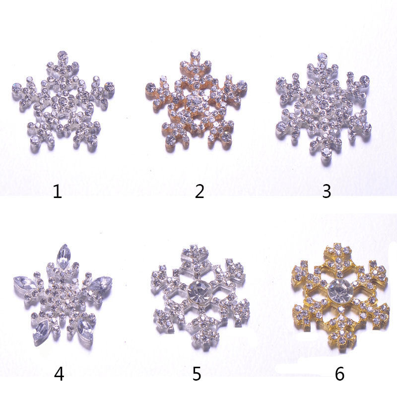 Wholesale 50 Pcs Free Shipping 25mm Snowflake Rhinestone Button l0737 Humble flat Back,silver Or Rose Gold Plating