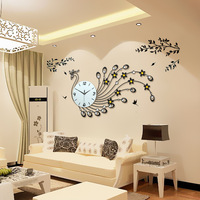 Creative Peacock Inlay Glass Zircon Wall Clock Wrought Iron Large Mute Clocks Electronic Products Of Contemporary Sitting Room