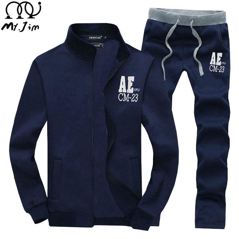 MR.JIM 2017 New Tracksuits Hoodie Mens Hooded Suits Fleece Coats Jacket Pants and Sweatshirt free shipping