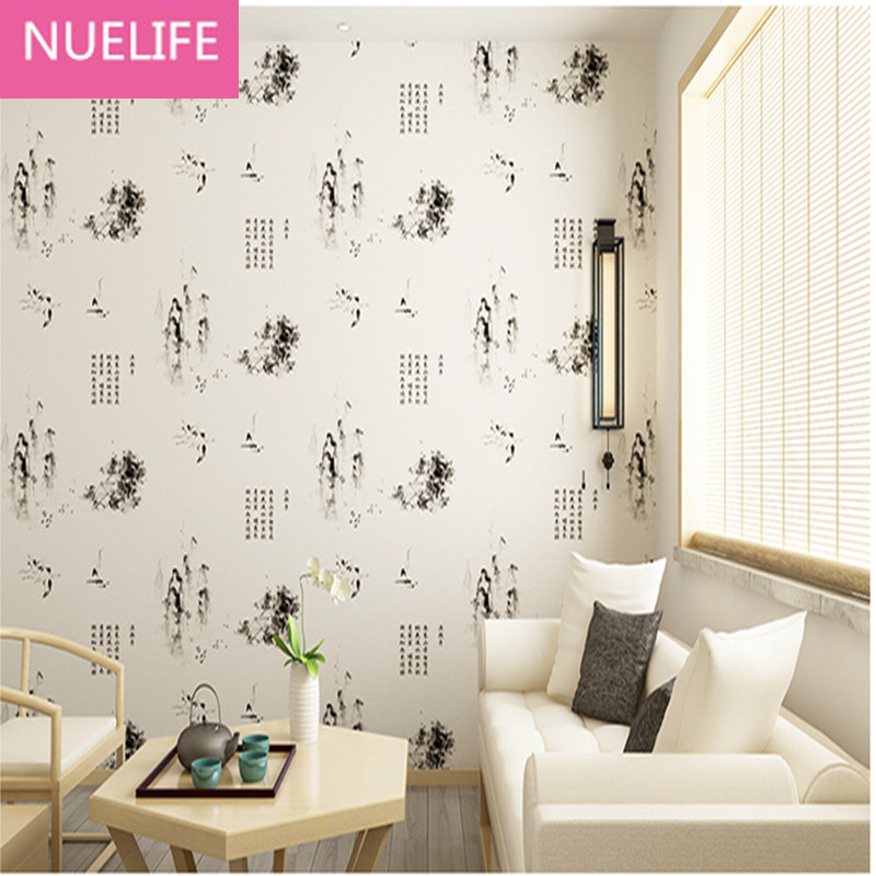 0.53x10m Chinese ink painting calligraphy pattern wallpaper children room living room bedroom study room  wall paper N12