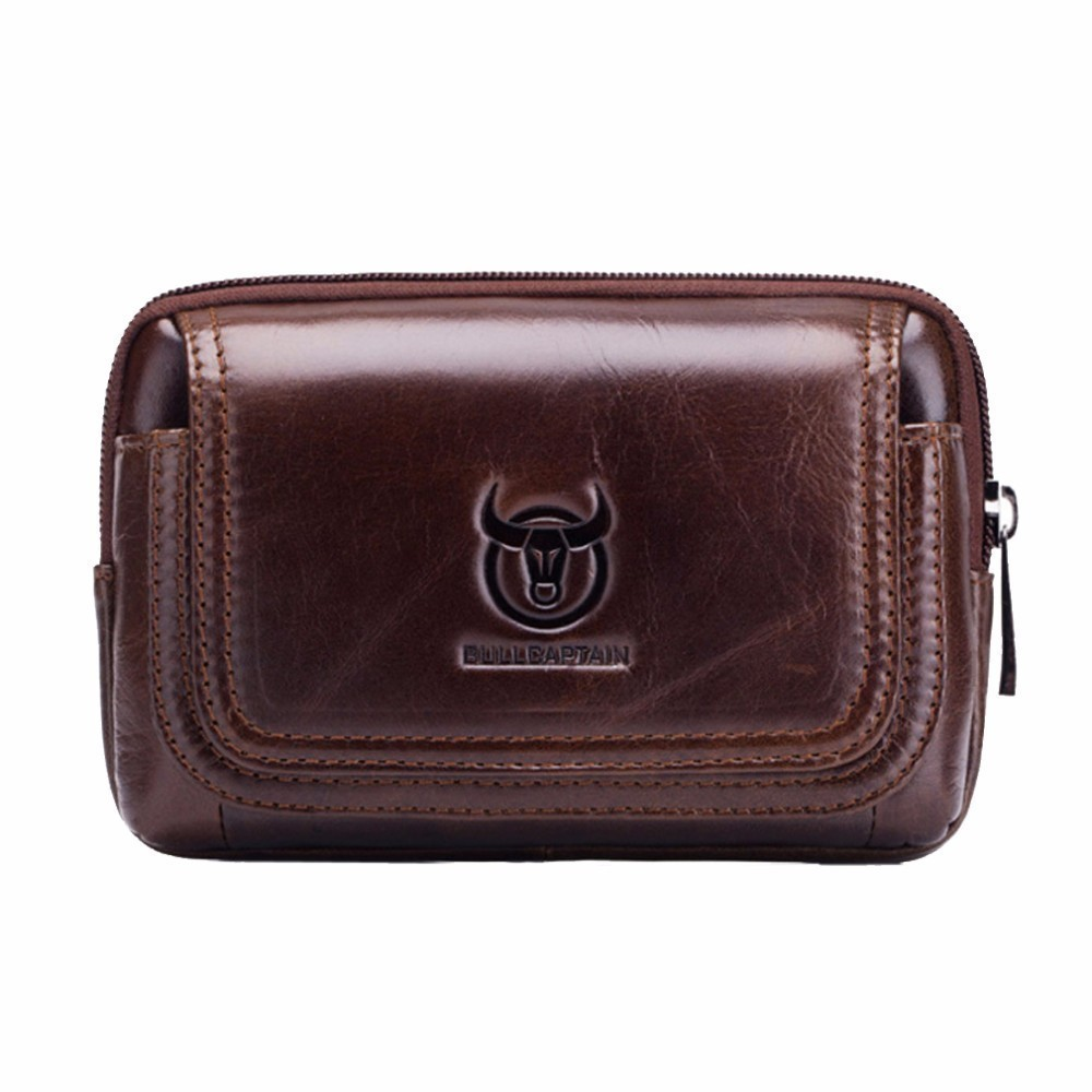BULL CAPTAIN Leather Famous Brand Men Cell Mobile Phone Case Cover Purse Cigarette Money Hip Belt Waist Bag Wallet Gift