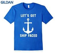 Gildan بيع 100% ٪ تي شيرت دعنا سفينة الوجه مضحك مرساة يخت بحري t-shirt