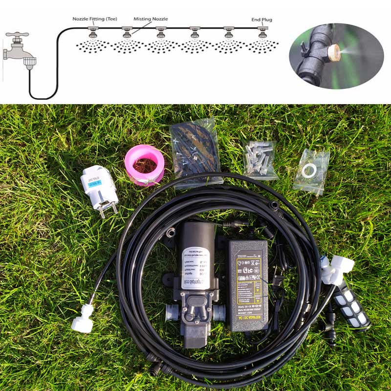 6M Water Mist Spray Electric Diaphragm Pump Kit Misting System Automatic Water Pump Sprayer with Brass Nozzles  for Garden6M Water Mist Spray Electric Diaphragm Pump Kit Misting System Automatic Water Pump Sprayer with Brass Nozzles  for Garden