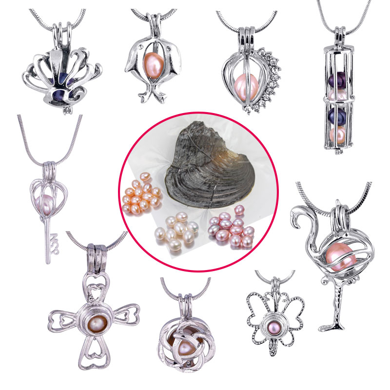 Fashion DIY Silver Cage Pendant and Freshwater Akoya Oyster 6 7mm Rice Wish Pearl Natural White/Pink/Purple (Pendant+Oyster)
