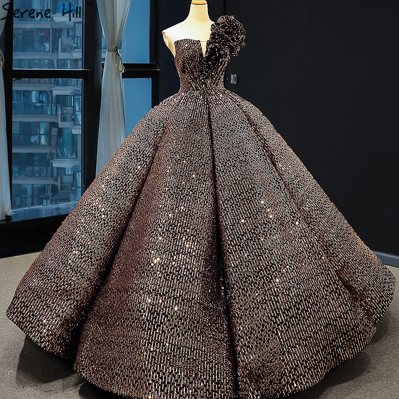 Dubai Brown Sequined Sleeveless Bling Wedding Dress 2019 One Shoulder Luxury Sexy Bridal Gowns 66860 Cusotm Made