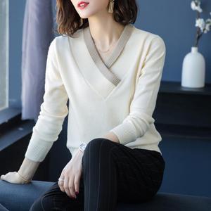 Женский трикотажный свитер из 100% кашемира, с v-образным вырезом, стандартный шерстяной пуловер, зима 2018