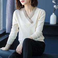 Women Jumpers 100% Cashmere Knitting Sweaters 2018 Winter New Arrival Vneck Fashion Pullovers Woman Standard Clothes Woolen Tops