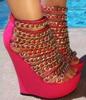 Gold metal chains wedge sandal peep toe cover heel wedge heel gladiator sandal boots woman platform sandal summer booties