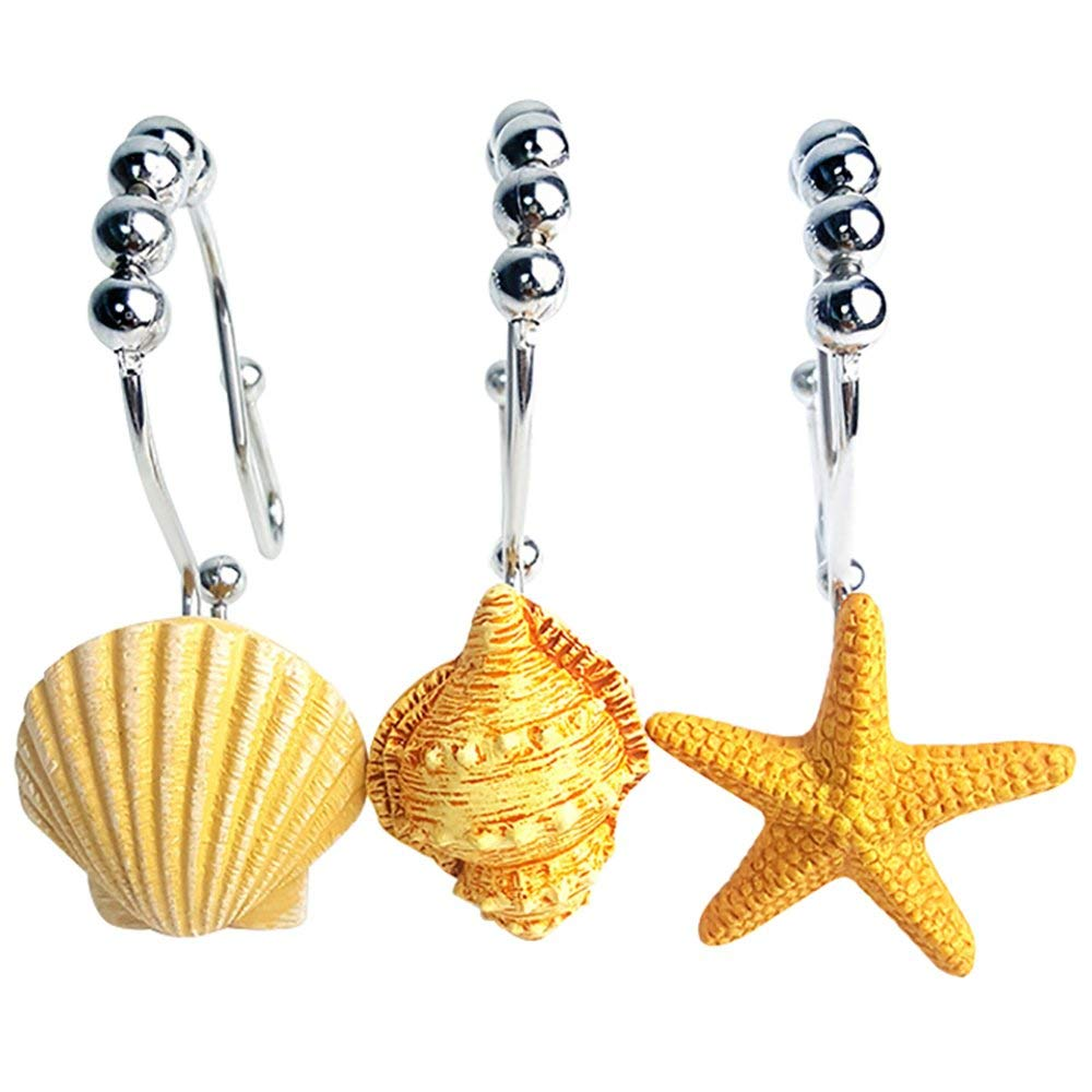 NOCM Seashell Shower Curtain Hooks 12 PCS Starfish Nautical Bathroom Beach Decor
