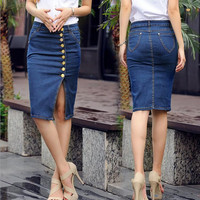 2017 Spring New European Station Big Yards Ladies Fashion Denim Skirt Wild Was Thin Package Hip