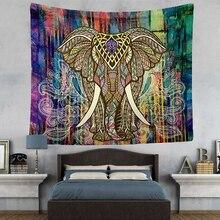 Hyha Elefante Tapiz de Color Decorativo Impreso Mandala Mandala Tapiz Indio Boho 130×150 cm Manta de Playa Habitación Mantel
