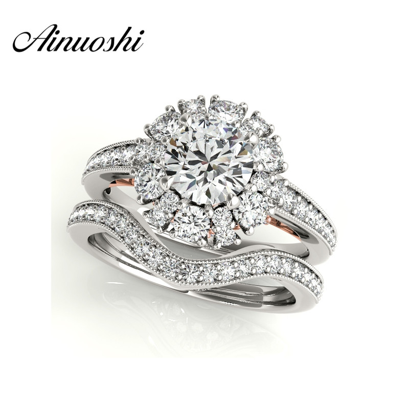 AINUOSHI 925 Sterling Silver Rose Gold Color Anniversary Bridal Ring Sets Sona Round Cut Wedding Engagement Halo Ring Set anillo цена 2017
