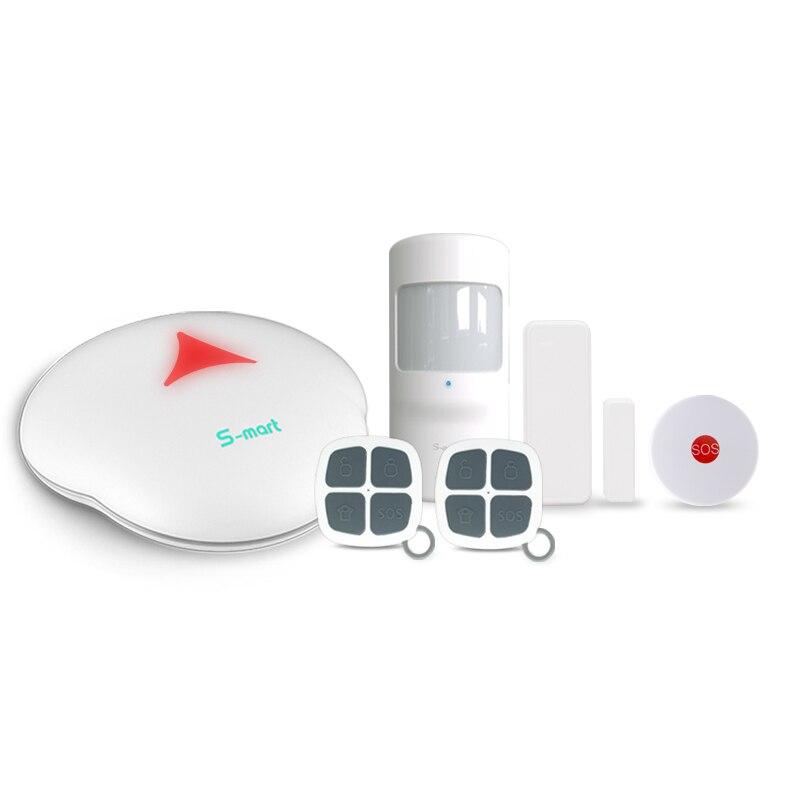 433 мГц английский/французский/испанский/русский языки Wi-Fi/PSTN сигнализация с иммунитет PIR датчик/ sos кнопка аварийного