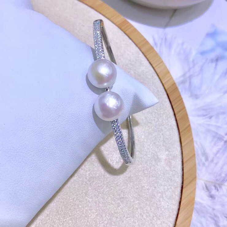 925 Sterling Silver Pearl Bracelet Mountings Fashion Beautiful ADJUSTABLE Bangle Findings Jewelry Parts Fittings Accessories