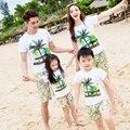 Бесплатная доставка летняя одежда семья праздник мать девушки отец мальчики майка брюки наряды кокосовая пальма печать топы шорты устанавливает