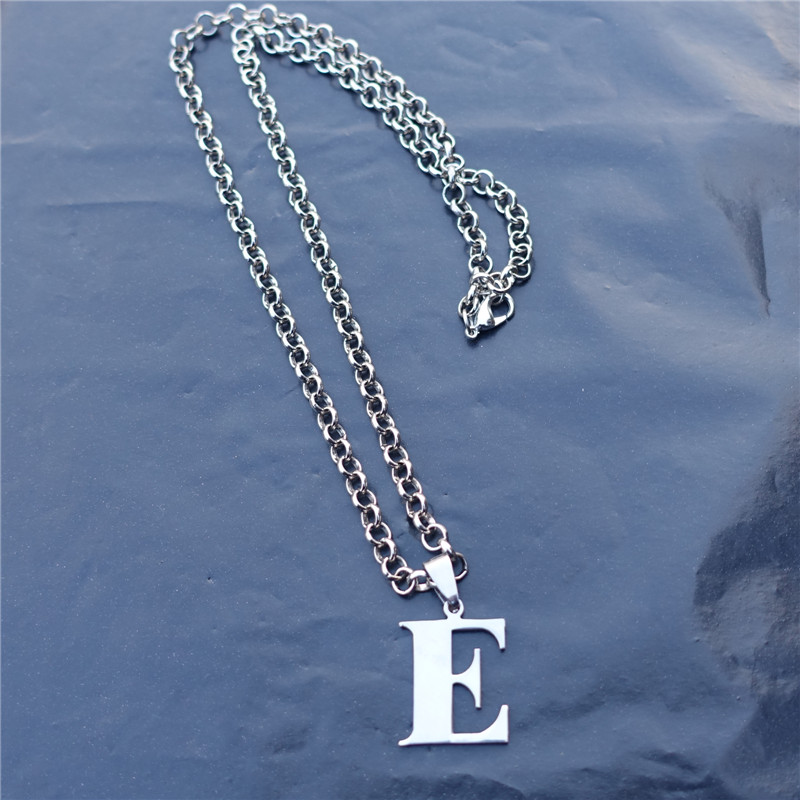 fashion men letter link chain stainless steel alphabet e pendant necklace jewelrychina mainland