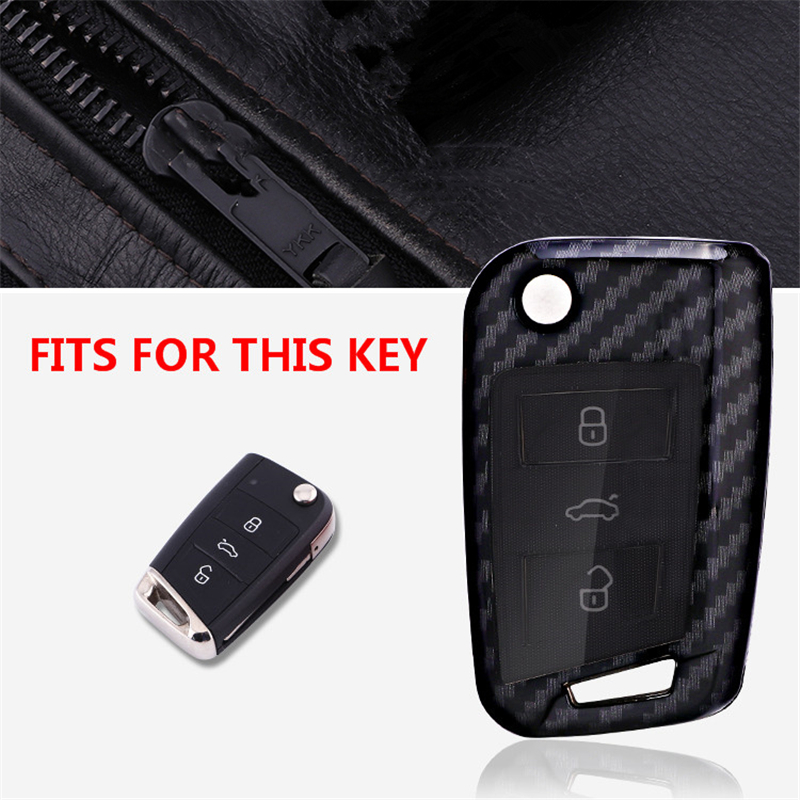 Image 2 - Carbon fiber+ PC Key Case Cover For VW Polo Golf 7 Tiguan for Skoda Octavia Kodiaq Karoq for SEAT Ateca Leon Ibiza 2015 2016-in Key Case for Car from Automobiles & Motorcycles