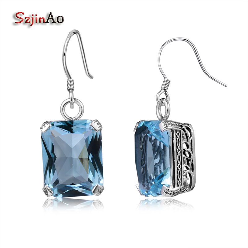 Szjinao Fashion Women long Earrings Costume Jewelry Handmade rectangle Aquamarine Antique 925 Sterling Silver Free Shipping