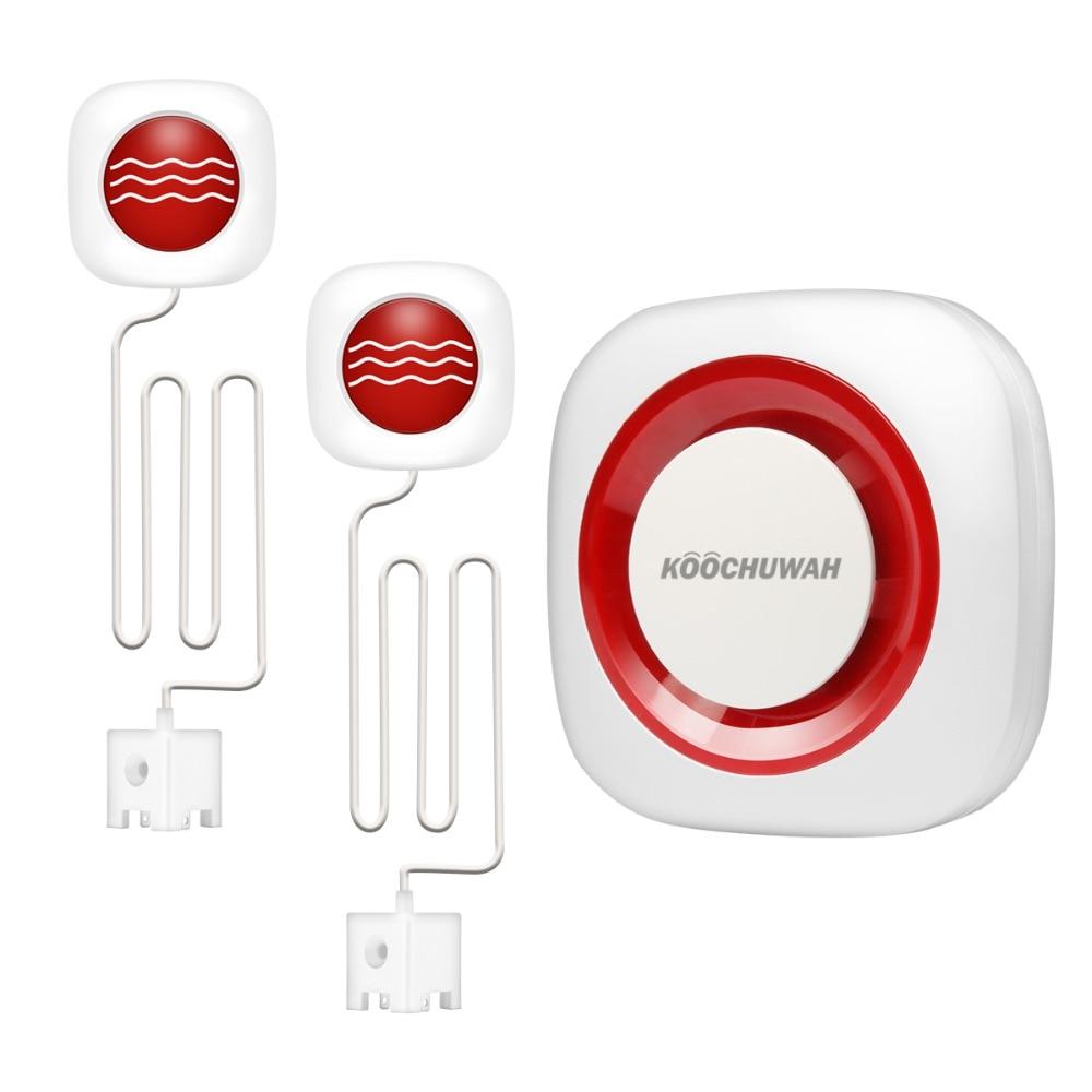 KOOCHUWAH Smart House GSM Flood Sensor SMS Alert Water Leak Sensor Kit Auto Call Wireless Water Leak Detector Alarm Promotion