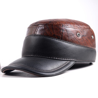 New Winter Warm Top Quality Women's Men's Real Cowhide Leather Army Baseball Golf Hat/Cap