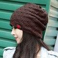 Inverno quente de primavera reversível crochet ski beanie hat para mulheres homens, malha chunky baggy skullies cap gorro, gorros mujer invierno