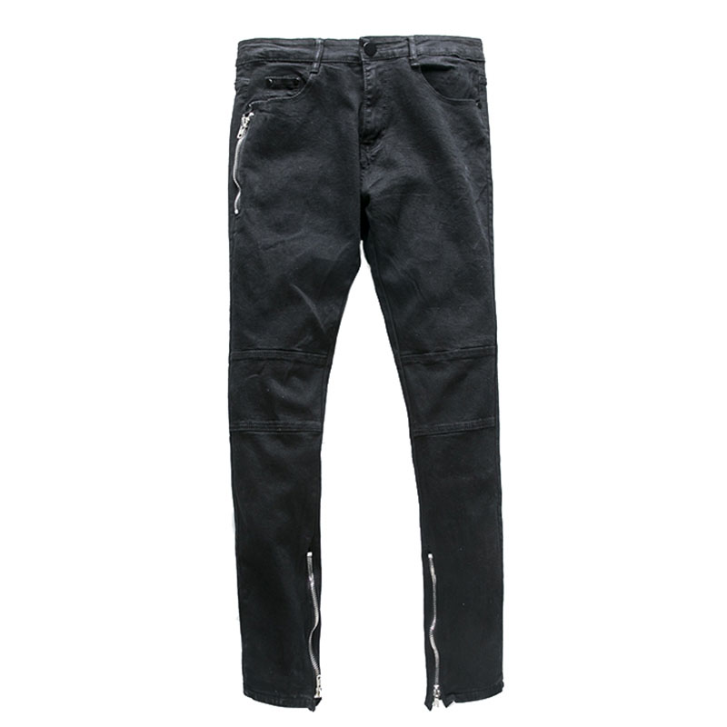 CALOFE Males Casual Jeans Slim Lightweiht Solid Color Pleated Pants Stretch Pencil Pants Fahsion Denim Plus Size Trousers NEW
