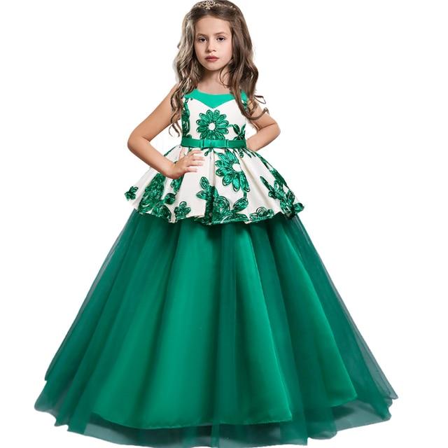 Baby Girls baptism Princess Flower Ball Gown Dress Kids Bridemaid Dresses For Girls Wedding Party Dress first communion dress