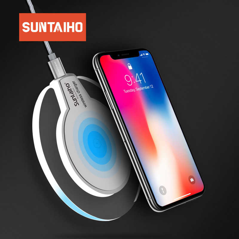 Suntaiho Qi Wireless Charger 5W Charger Nirkabel Cepat Pengisian Dock Cradle Charger untuk Iphone Samsung Xiaomi Huawei P30