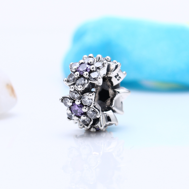 100% 925 Sterling Silver Fit Original Pandora Bracelet Luxury Forget me not flower CZ Charm Beads for Jewelry Making Gift