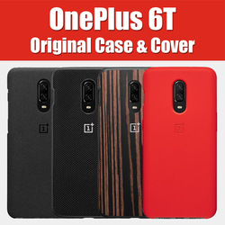 A6013 Official OnePlus 6t Case original bespoke Silicone Sandstone Nylon Karbon Bumper Leather Flip Cover