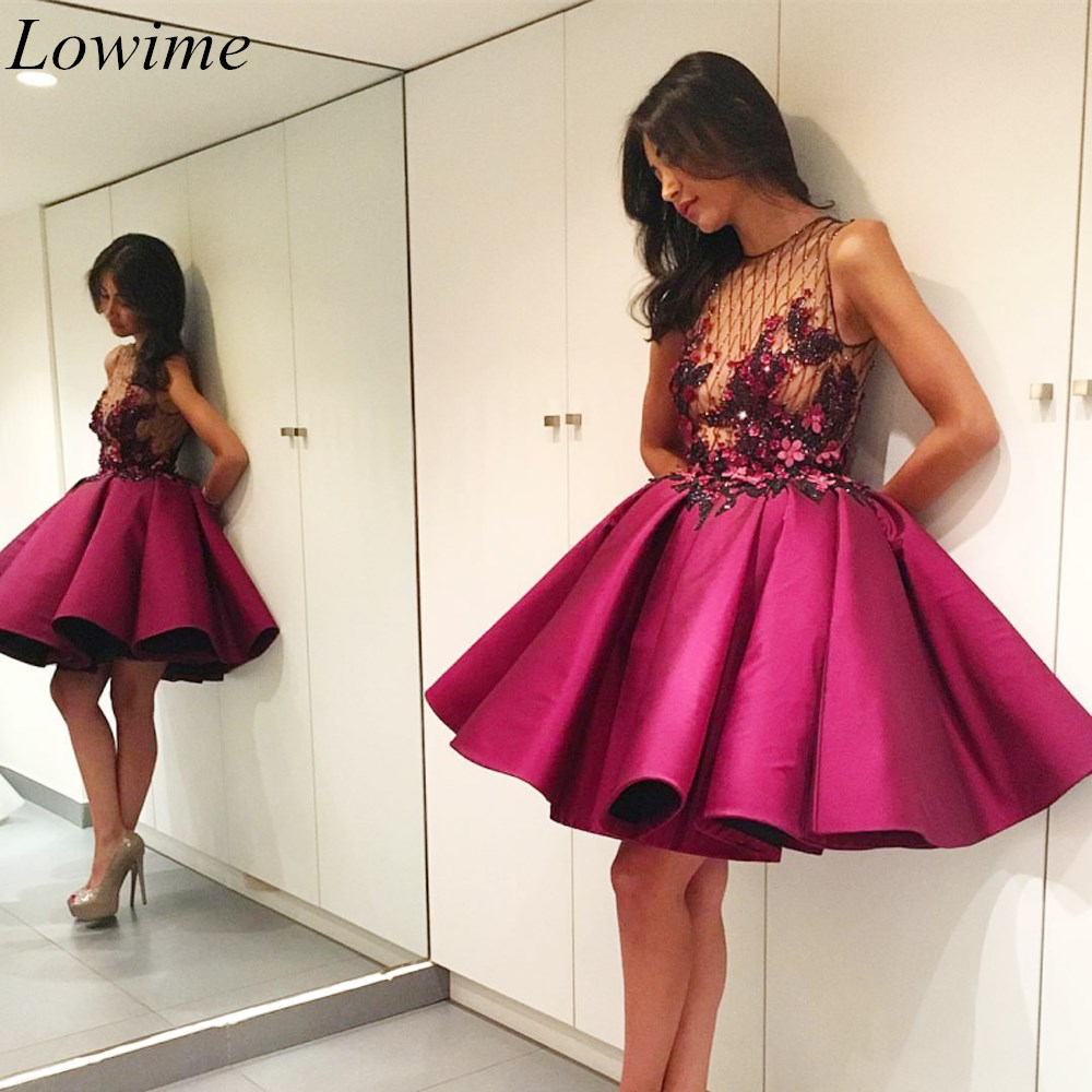 New Arrival Fuchsia Mini Cocktail Dresses 2019 Illusion Sleeveless Sexy Evening Cocktail Prom Party Gowns With Appliques