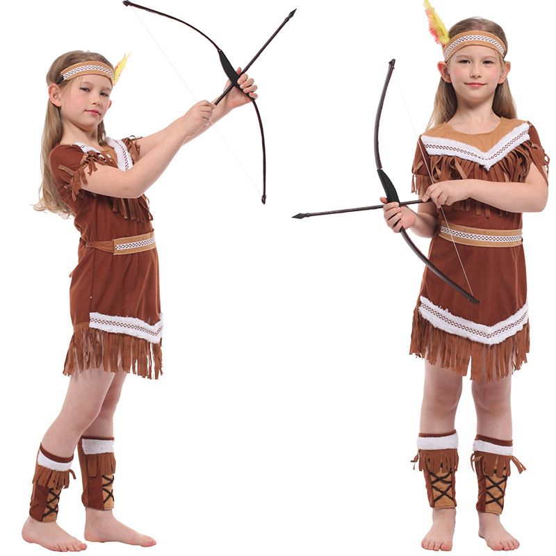 Kids Girls American Indian Costumes Christmas Carnival Halloween Masquerade Fancy Dress Children Princess Hunter Cosplay Clothes