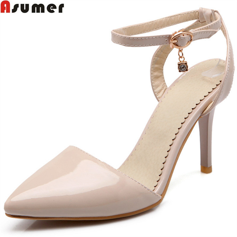 ASUMER 2018 spring autumn new fashion pumps shoes woman pointed toe buckle elegant wedding shoes women high heels shoes asumer black beige fashion spring autumn shoes woman pumps pointed toe buckle classic women genuine leather high heels shoes