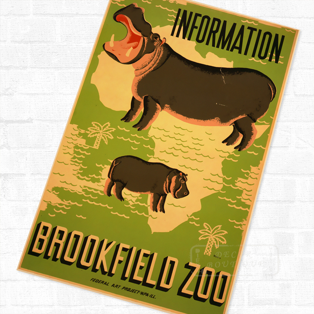Pop Africa Brookfield Zoo Hippo Vintage Retro Travel Kraft Poster ...