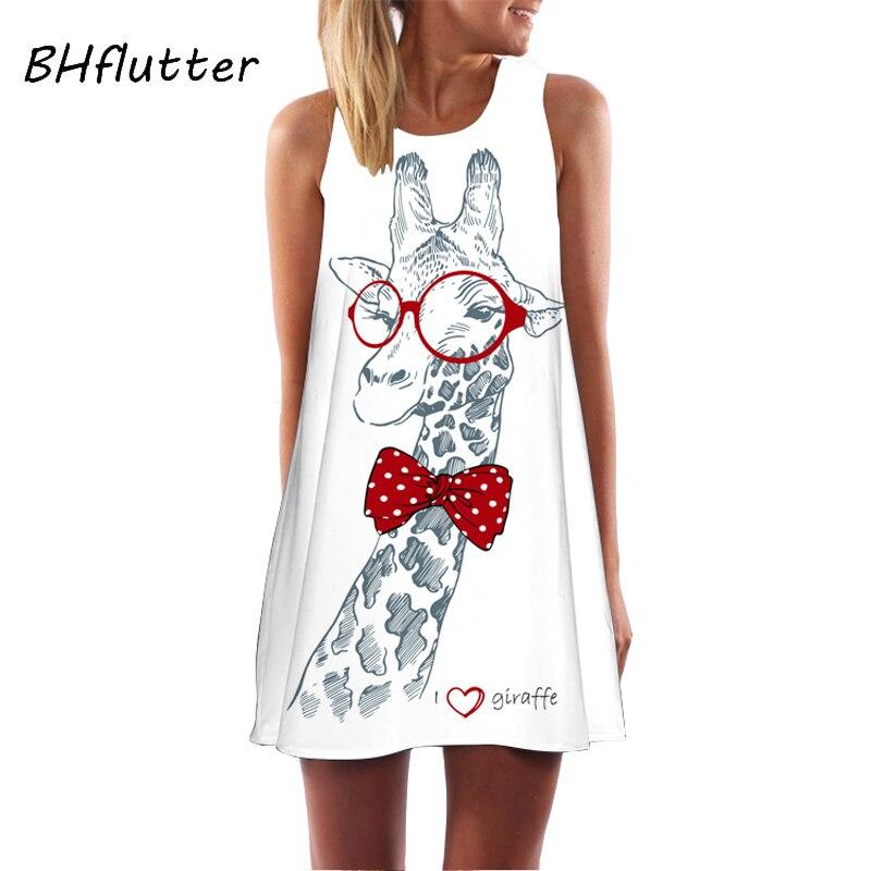 BHflutter 2018 Summer Dress Giraffe Print Prairie Chic Cute Chiffon Dress Women Sleeveless Casual Loose Mini Party Dress Vestido