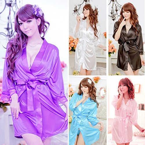 חלוק רחצה חלוק קצר צבע מוצק של הנשים סקסי משי מלאכותי הלבשת Nightwear