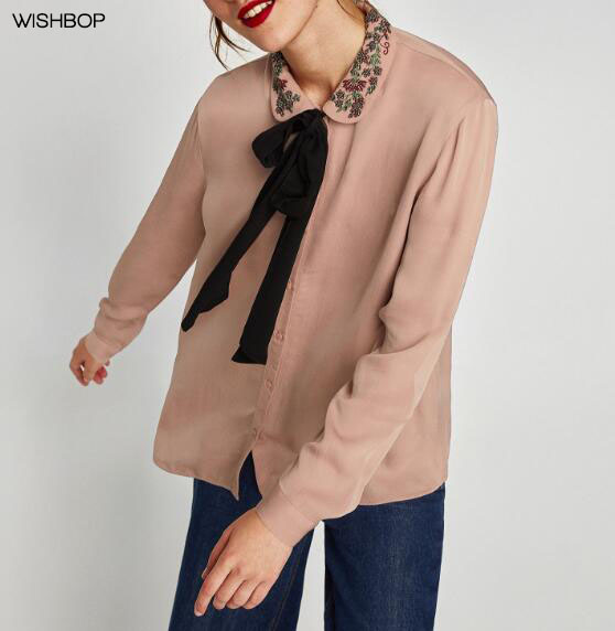 WISHBOP NEW 2018 Spring Woman <font><b>Nude</b></font> <font><b>Pink</b></font> <font><b>SHIRT</b></font> Beaded EMBROIDERED COLLAR AND BOW Long sleeves <font><b>with</b></font> buttoned cuffs button-up TOP
