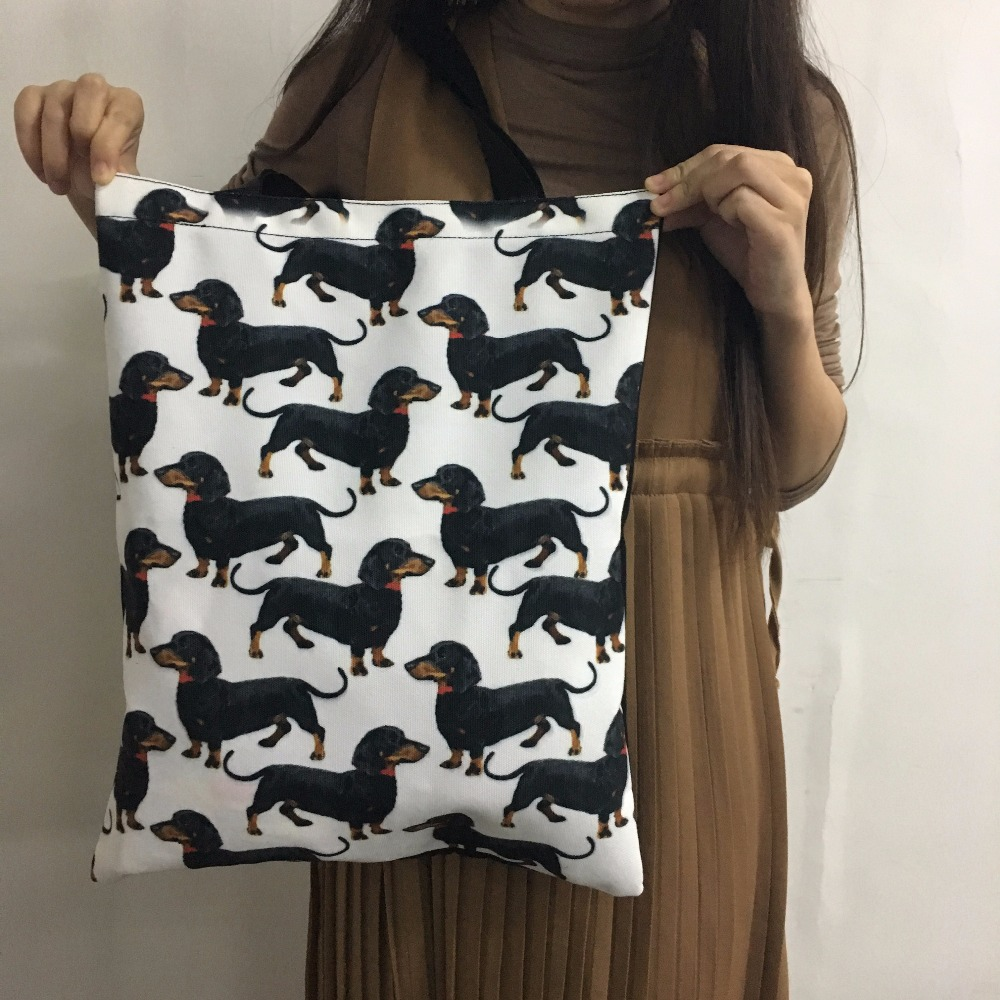 Travel Handbags Canvas Tote Casual Beach Bags Large Foldable 3D COLLIE Grocery Bags Reusable Supermarket Shopping Bag