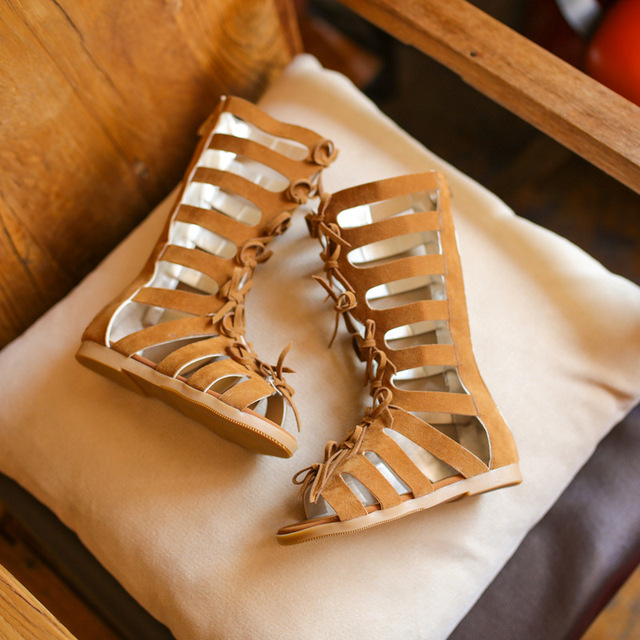 24e861ef0 2018 niños del verano Botas Sandalias moda gladiador romano Zapatos para  Niñas niños princesa toe Zapatos