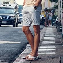 Enjeolon 2018 Verão Novo Casual Shorts Homens Sim cor sólida Disponível Na Altura Do Joelho de Alta Qualidade K6093