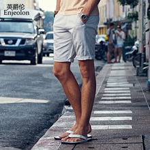 Enjeolon 2018 Sommer Neue Beiläufige Kurzschlüsse Männer Sim einfarbig Verfügbar Knielänge Hohe Qualität K6093